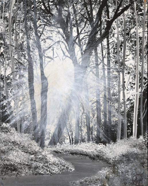Drawing of light coming through trees