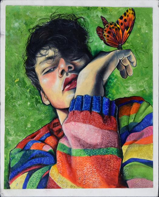Painting of a person holding a butterfly